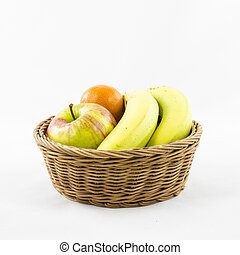 Fruits composition in wicker basket