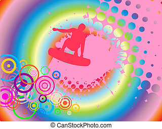 wakeboarder in action - vector illustration of a colorful...