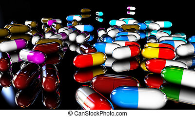 medical capsules - medicines in pill of different colors...