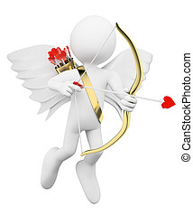 3D white people Cupid shooting arrows of love - 3d white...