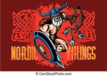 Viking norseman mascot cartoon with bludgeon and shield -...