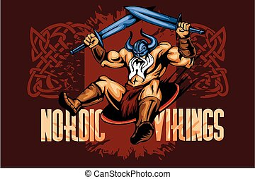 Viking norseman mascot cartoon with two swords - vector...