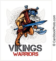 Viking norseman mascot cartoon with ax and sword - vector...
