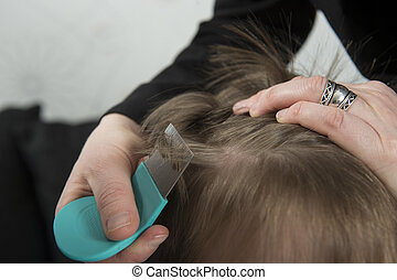 Checking for lice - Mother checking childs head for lice...