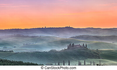 Tuscany sunrise - Beautiful Tuscany landscape at sunrise,...