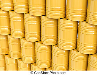Stack of yellow oil barrels - Group of yellow oil barrels,...