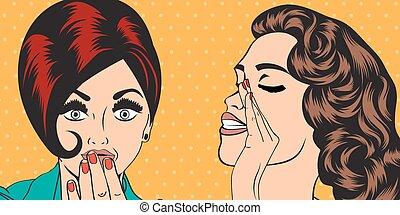 pop art retro women in comics style that gossip, vector...
