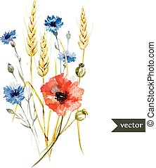 Wildflowers - Beautiful watercolor vector bouquet with...