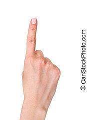 forefinger points - female hand index finger pointing up...