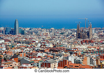Panoramic view of Barcelona in tha sunny day.  Spain
