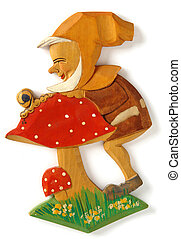 Toy Dwarf - Wooden carved decorative wall toy Dwarf with...