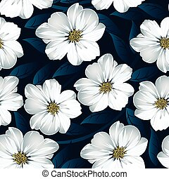 White floral seamless pattern with blue leaves