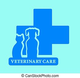 isolated veterinary care blue icon