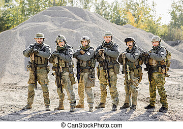 Rangers team standing and looking at the camera - military...