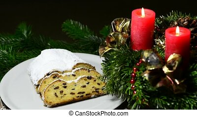 Advent wreath - German Christmas bakery Stollen with Advent...