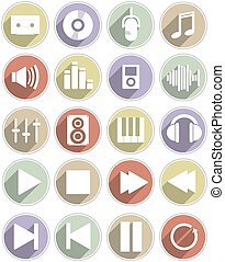 A set of different music icons.
