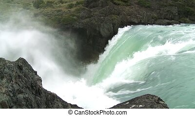 Waterfall in Patagonia, Chile Slow - Waterfall in Torres del...