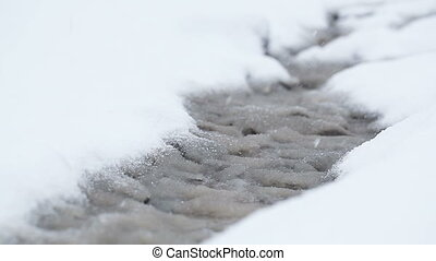 Snowy streamlet - Snowing and snowbound stream with sleet