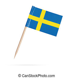 Miniature Flag Sweden. Isolated on white background -...