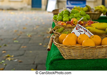 Autumn market stall - an autumn fruit and veg stall showing...
