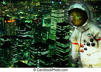 astronaut space traveller in suit with helmet