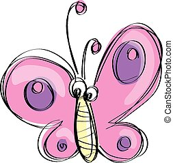 Cartoon pink butterfly with funny f - Cute pink and purple...