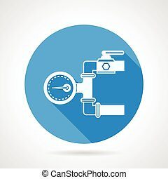Vector icon for pressure gauge - Single blue flat vector...