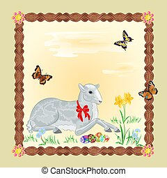 Easter lamb and daffodil Easter frame place for text vector...