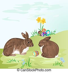 Easter  rabbits  and easter eggs i