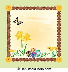 Daffodil and easter eggs