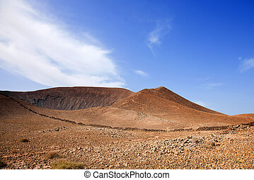 Path up Bayuyo volcano outside of Corralejo, Fuerteventura,...