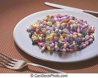 Overdose - Dish full of medicines and supplements instead of...