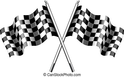 Chequered, Checkered Flags Racing - Two black and white...