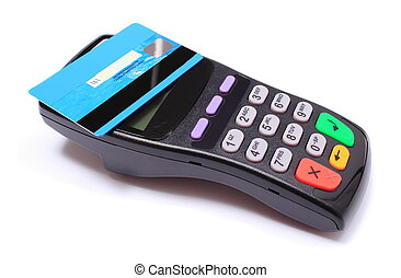 Payment terminal with contactless credit card on white...