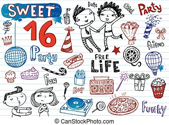 Sweet 16 party, doodle set - Freehand drawing Sweet 16 party...