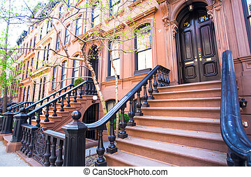 Old houses with stairs in the historic district of West...