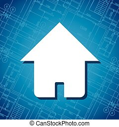 Blueprint home icon - New blueprint white house icon vector...
