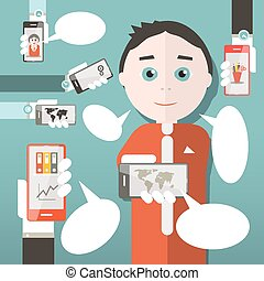 Flat Design Media Vector Illustration with Business Man and Cell Phones