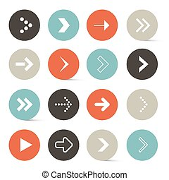 Paper Circle Arrows Set - Vector Blue - Red and Black Retro...