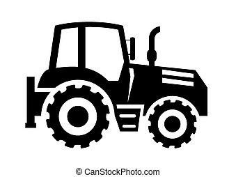 tractor and excavator four black icons on a colored...