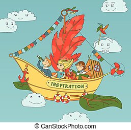 Flying Ship Inspiration With Happy - Vector illustration...