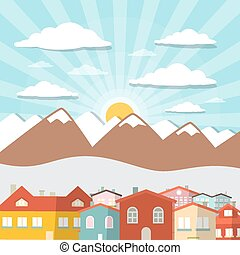 Houses - City Mountain Vector Flat Design Illustration