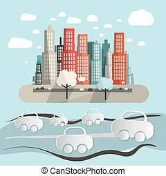 Paper Cars in City - Town Abstract Flat Design Retro Vector Illustration