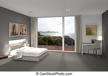 bedroom with a view to the sea - fictitious 3D rendering of...