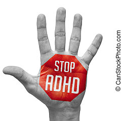 Stop ADHD on Open Hand. - Stop ADHD - Red Sign Painted -...
