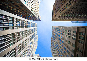 New York Skyscrapers View Upward - Skyscrapers View Upward,...