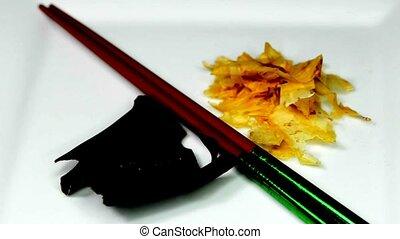 Japanese kombu and bonito on turn table