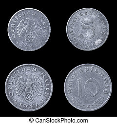 Obverse and Reverse of Two German Coins - Obverse and...