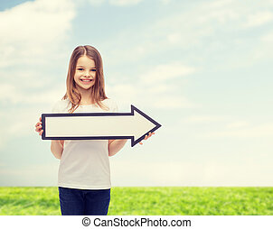 smiling girl with blank arrow pointing right - advertising...