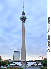 Fernsehturm in Berlin - The Fernsehturm TV Tower in Berlin,...